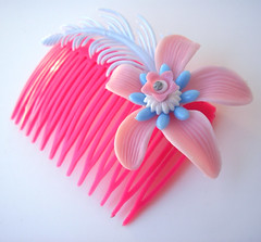 Pink and Blue Vintage Flowers Hair Comb / Barrette