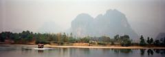 Truck driving across river, Laos (Barnflakes) Tags: panoramic laos river