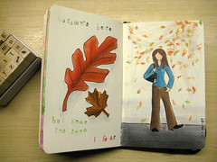 Moleskine - Autumn and Stamps (chicgeekuk) Tags: autumn shadow woman laura colour fall moleskine girl leaves ink bag paper notebook leaf sweater maple oak drawing sketchbook marker change fleeting markers copic kishimoto copicmarker laurakishimoto laurakishimotoca