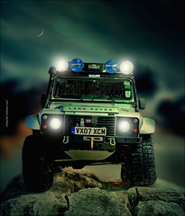 Land Rover (khalid almasoud) Tags: road old light classic cars car night canon dark lens high rocks photographer shot d plateau large style rover bumpy spot exhibition tires vehicles international 400 land 24 kuwait editor 105  2008 khalid possibility      xti  almasoud