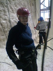 Kenny Gillen is Excited (subflux) Tags: cold ice sport fun happy scotland scary action extreme helmet rope climbing tired grin grinning axe swinging scared activity cheesy iceclimbing exciting axes crampons kinlochleven ecstatic icefactor