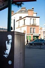 C215 - Rue de l'Ourcq 19e c (un oeil qui trane) Tags: street urban streetart paris france art collage print poster stencil paint peinture affichage carf 75 arrondissement affiche graffitis everton affiches childrenatriskfoundation c215 19