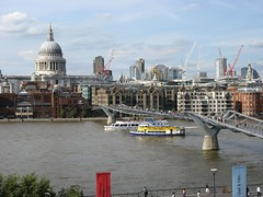 View from Tate Modern (Planet Janet 111) Tags: england london thames europe stpauls august millenniumbridge tatemodern constructioncranes stpaulscathedral thamesriver 2007 tourboats