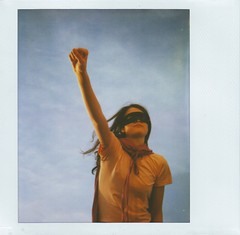 Up, up and Away! (Kate Pulley) Tags: sky amanda girl up polaroid fly mask wind sister twin away super hero superhero cape spectra usedafantoblowherhair