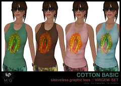 [MG fashion] Cotton basic sleeveless graphic tees - VIRGEM