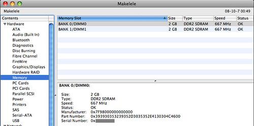 Memory information in Mac OS X