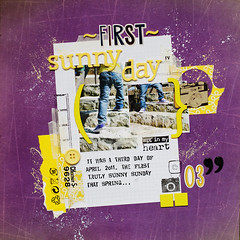 firstr sunny day :: early spring 2o11 (ania-maria) Tags: boy yellow bench scrapbooking layout kid spring violet sunny lo scrap ils challege aniamaria