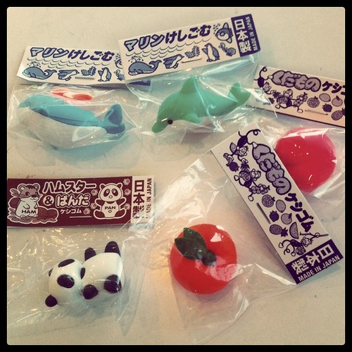 Apparently the latest trend at school is Japanese erasers. My childhood is repeating itself all over again. Very scary!