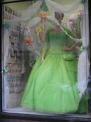 best halloween costume (rhythmzslave) Tags: party green mannequin store ribbons princess fluff cupcake shopwindow gown dummy bows heinous bridalshop