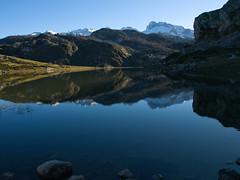 Picos de Europa reflejados en el Lago Ercina (jtsoft) Tags: mountains landscape asturias olympus ercina picosdeeuropa e510 cangasdeons lagosdecovadonga peasanta zd1454mm torresantamara jtsoftorg