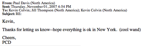 Kevin Colvin's manager reply