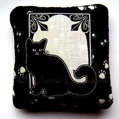 Art Nouveau style Handmade Catnip Toy (Jane (on break)) Tags: blackandwhite cat blackcat diy handmade kitty artnouveau catnip etsy pawprints 07 cattoy efa catniptoy catpillow catnippillow catlovers catgift janediamond catcrafts etsyforanimals janediamonddesigns 100organiccatnip artnouveaucat catniptoyjanediamond