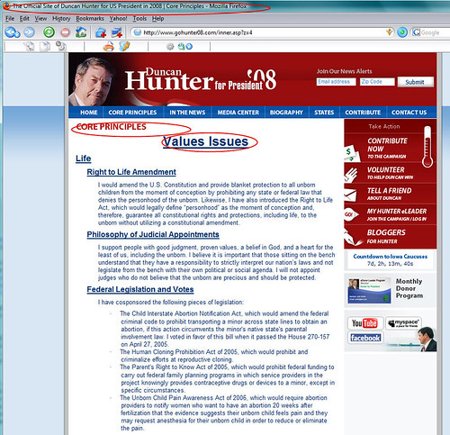 Duncan Hunter Values Page
