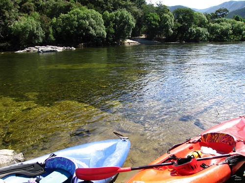 Kayaks by the Motueka River