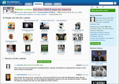Ron Paul Stumbleupon Page