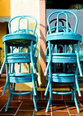 stolen 81 stacked blue chairs