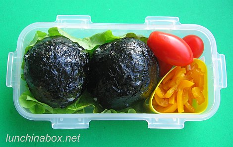 "Meatball ""rice bomb"" bento lunch"