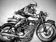 """The greatest harm can result from the best intentions. Even in doing something we love and adore."" (Jerrycharlotte) Tags: original portrait man black macro art up leather canon paper grey sketch arty close ride drawing wheels goggles piston motorbike charcoal biker headlight grandad goldstar detailed bsa shaded blotted xyn397"