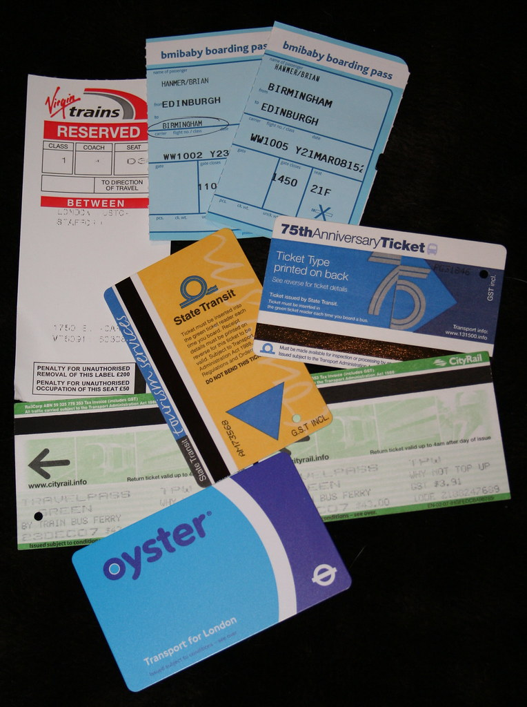 Assorted travel tickets