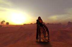 Eurydice at Sunset 2 (Poet Scarborough) Tags: sunset sky woman art clouds 3d sand desert sl oasis fantasy secondlife palmtree arabian gor eurydice tahari gorean