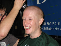 Don't look (Tanya in BNE) Tags: charity hk woman haircut me girl self hair buzz t hongkong tanya head cut vanity bald moi redhead shave hairless 2008 cancerresearch myformerlife stbaldricks april2008