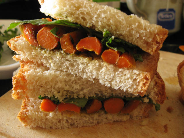 Roasted baby carrots and basil sandwich