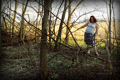on the brambles' edge (Opal in the rough) Tags: trees wild portrait woman white texture me nature colors girl forest self spring woods tank top mel bark brunette opal opalintherough