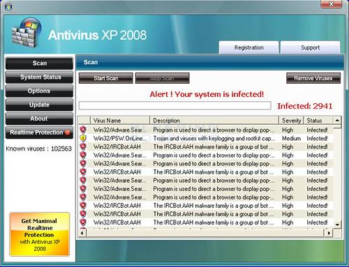 Antivirus XP 2008 GUI