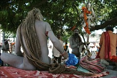 Shivraj Giri. India (fredcan) Tags: camp india festival dreadlocks naked back asia sitting indian south religion north sadhu guru naga trishul trident giri haridwar subcontinent jata hardwar shivraj hiduism uttarkhand shivadevotee mahakumbhmela2010 omnamonarayan