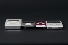 iPod Family Reuninon - grandfather 5GB (1st gen), 3rd gen nano, 2nd gen nano, 60GB iPod w/video (5th gen)