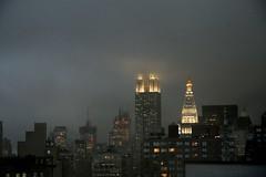 Empire State Building (Kevin Coles) Tags: city nyc newyork fog skyline night manhattan empirestatebuilding 2007