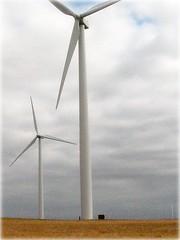 wind turbines (tmorris31) Tags: sky person massive kansas windenergy turbines prariegrass windturbines abigfave ultimateshot easternkansas