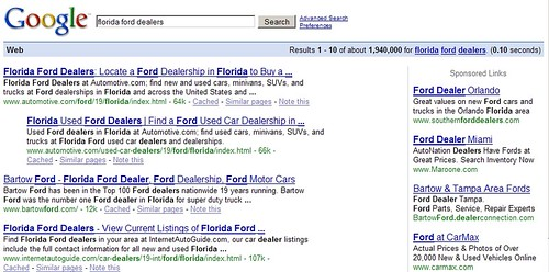 "Behavioral Targeting: ""florida ford dealers"""