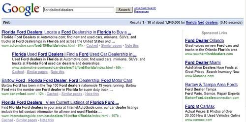 "Behavioral Targeting: ""florida ford dealers"""