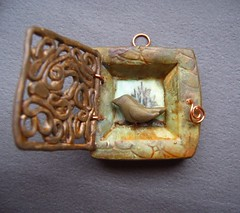 Shrine Ivy Custom Order (gabriel studios) Tags: michelegabrielstudios etsy pendant ornament polymer clay jewlery handmade supplies olive brown bird filigree