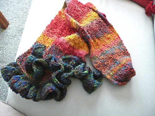 Funky Knit Scarf with Ruffle
