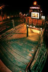 Metro station, Paris (The Other Martin Tenbones) Tags: paris france night stairs metro steps entrance fisheye metropolitain assemblée assembleenationale 400d scenicsnotjustlandscapes