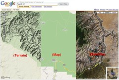 Google Maps - Terrain, Map, Satellite views
