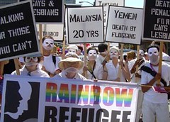 Rainbow protest over the persecution of people because of their sexual orientation