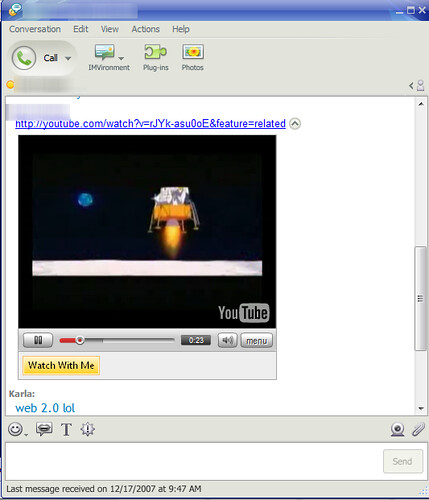 Watch YouTube in Yahoo Messenger Beta 9.0