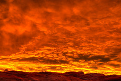 Sunrise over Red Rocks, Page, Arizona (Thad Roan - Bridgepix) Tags: arizona orange sunlight southwest yellow clouds sunrise desert explore page redrocks hdr photomatix 200711