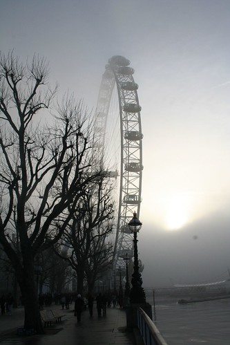 London - The London Eye in the fog