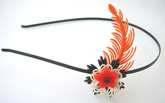 Orange and Black Vintage Flowers Headband