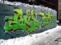 CIA Wall -  Early Winter 2007 (Seetwist) Tags: snow streetart green art wall canon graffiti mural colorado paint grafitti cia free denver spray urbanart graffitti production spraypaint local graffito graff piece aerosol burner emit legal masterpiece grafitto 303 koze prodo legalwall ciawall freewall sd900 seetwist productionwall dopeburner ciaproductionwall coloradoinstituteofart seetwistproductions