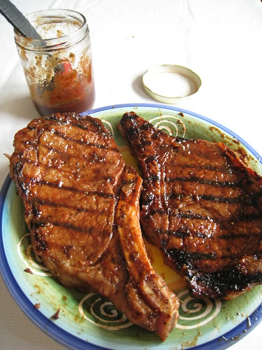 steak, glazed