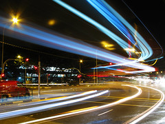 Turning Bus (Life in AsiaNZ) Tags: longexposure blue light bus night canon lights long exposure nightshot traffic g trails double powershot vehicle fv10 series turning afterdark dusktilldawn decker   g9 gseries 10faves  cmwdblue colourartaward artlegacy canong9 lifeinnanning flickrgiants