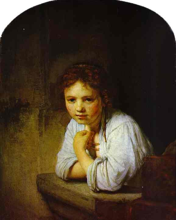 REMBRANDT Harmenszoon van Rijn A Young Girl Leaning on a Window-Sill 1645