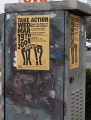 UFPJ 'Take Action: Topple the Pillars of War and Empire!' Posters (Takoma Park, DC) by takomabibelot on Flickr!
