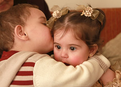 tender and sweet little kiss (thomyneel (Pierre -Thomas)) Tags: boy cute girl smile perfect kiss funny flickr photographer pierre group daughter son elite lovely georges tender ghassan the marielouise yammine ziadeh ultimateshot canon40d thomasziadeh