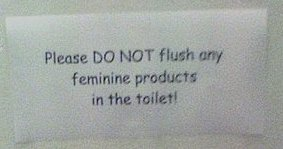 Please DO NOT flush any feminine products in the toilet!